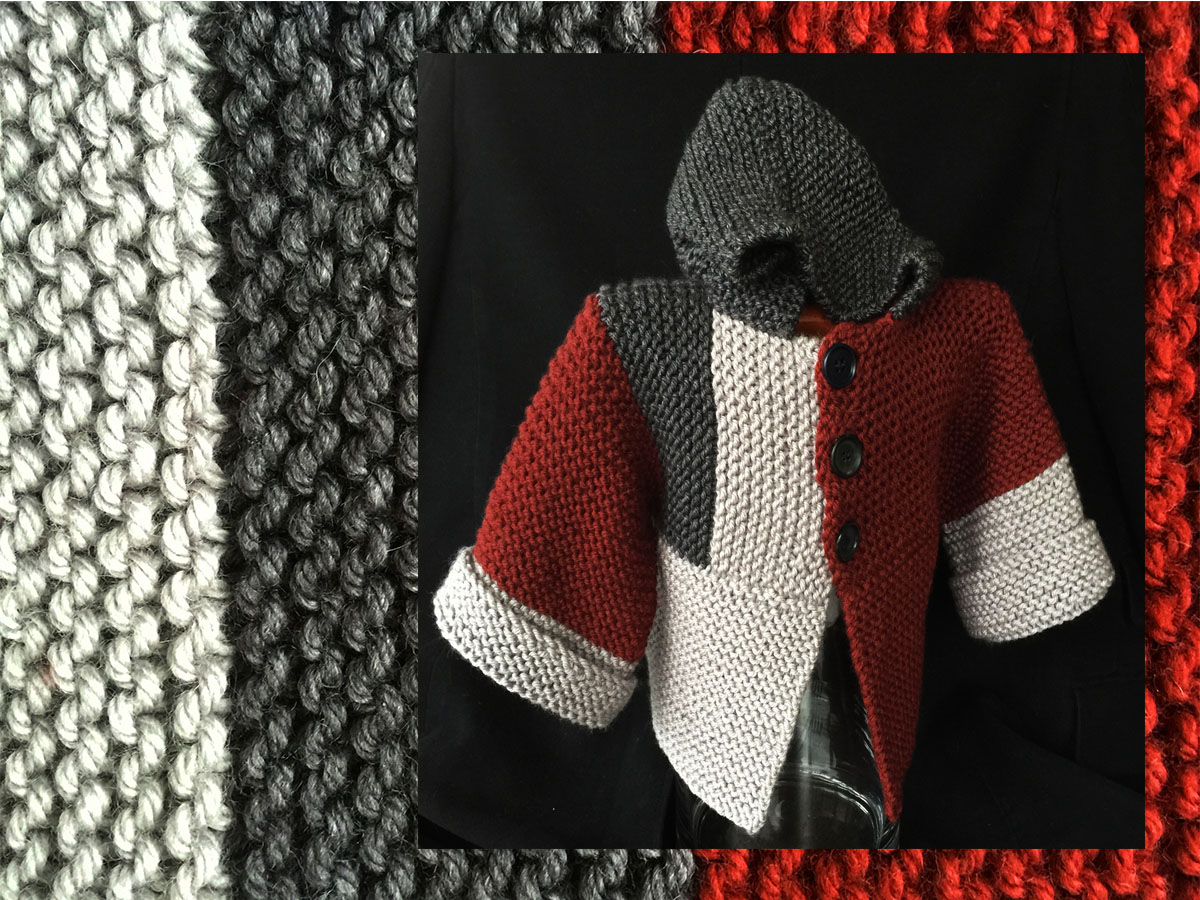 Red-grey child's color-bloc hoodie washable merino