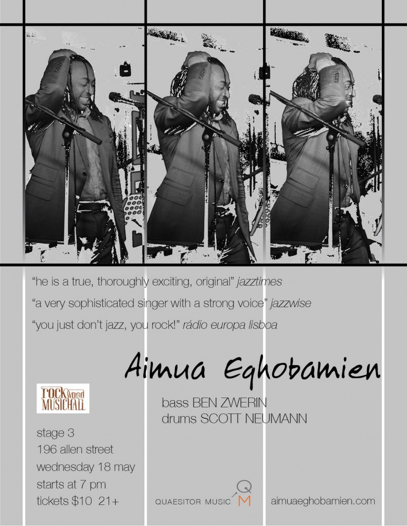 Aimua Eghobamien poster 2016 Rockwood Music Hall