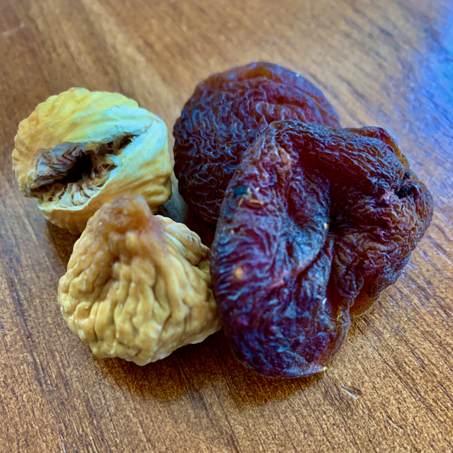 Dried mini figs and sun-dried apricots